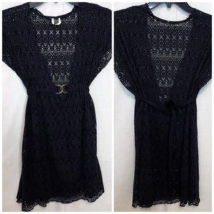 BECCA Swim Cover Up Black Crochet Tunic Sz XS/S